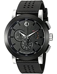 Movado Mens 0606545 Museum Perforated Black-Rubber Strap Sport Watch
