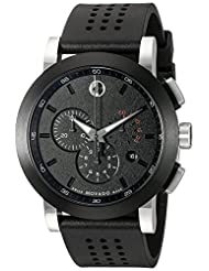 Movado Men's 0606545 Museum Sport Chrono with Black Perforated Rubber Strap Watch