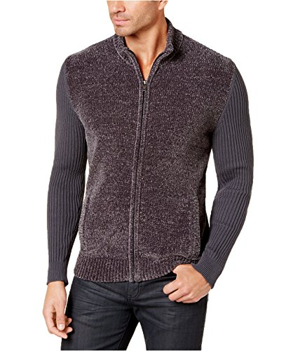 Alfani Men's Chenille Full-Zip Cardigan Sweater (3XL, Ebony)