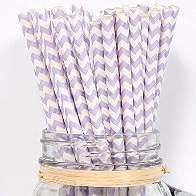 Lilac/White Chevron Set of 100 Count Size 7 3/4 inch Lilac Chevron Design Paper Drinking Straw Baking Sticks Cake Pop Sticks For Cake Pops Lollipops Crafts Cupcake Toppers Rock Candy and Brownie Pops