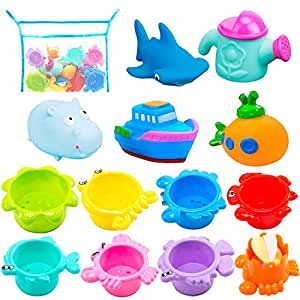 Bath Toys and Stacking Toys for Toddlers- 6 Multi-Size Stacking Cups 4 Squirt Squeaker 1 Submarine Toys and 1 Mesh Net Bath Toy Organizer