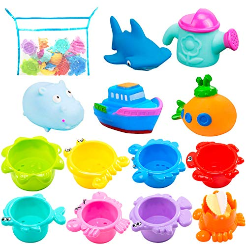 INNOCHEER Bath Toys and Stacking Cups for Toddlers with Quick Dry Organizer Net-13 Pcs Early Educational Toy for Bathtub Game, Beach and Pool Party