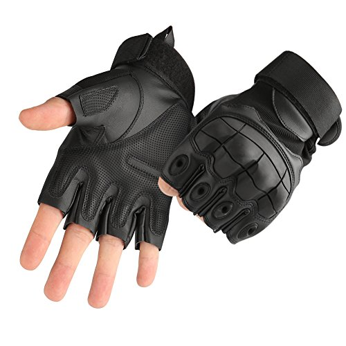 Fingerless Bike Gloves - Accmor Tactical Gloves Military Rubber Hard Knuckle Gloves Fingerless Half Finger Outdoor Gloves Fit for Cycling Airsoft Paintball Motorcycle Hiking Camping