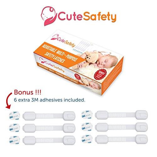 [해외]Cutesafety 아동용 안전 잠금 장치 - 6 개의 여분의 3M 접착제가있는 베이비 교정 캐비닛 잠금 장치 - 조정 가능한 흰색 스트랩 래치를 캐비닛, 서랍, 컵 받침에 부착/Cutesafety Child Proof Safety Locks - Baby Proofing Cabinet Lock with 6 Ext...