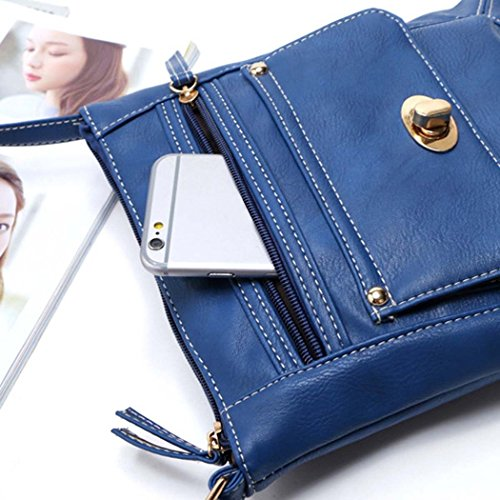 Las mujeres Tote - All4you Retro bolso pequeño Cruz hombro Casual Bag(Black) Azul