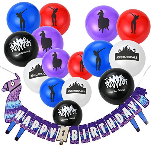Saturday Club House Gaming Party Supplies Balloons and Banners - 50pcs Assorted Colorful Latex Party Favors Balloons and Birthday Banner Decorations -