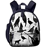 Haixia Kid's Boys'&Girls' Bookbag with Pocket Hunting Decor Silhouettes of Wild Animals and Huntsman Grouse Mallard Duck Eagle Grass Decorative Black and White