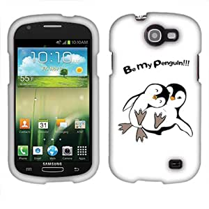 Fincibo (TM) Samsung Galaxy Express I437 Protector Hard Plastic Snap On Cover Case - Be My Penguin, Front And Back