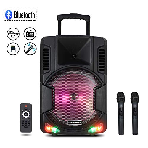 Starqueen 12Inch Trolley Bluetooth PA Speaker with 2 Wireless UHF Microphones, Battery Powered Rechargeable Karaoke DJ Speaker with LED Lights, Active Loud Digital Sound System, FM/MP3/USB/TF Card/AUX