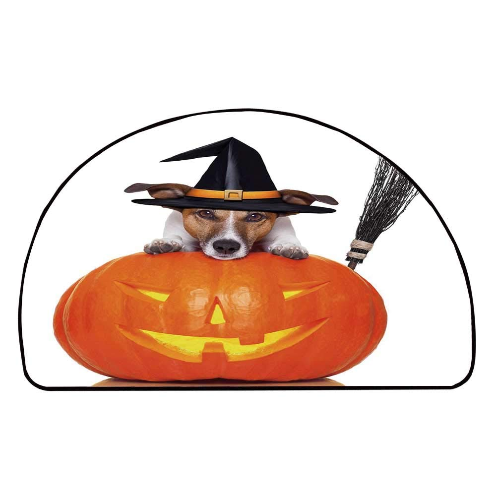 C COABALLA Halloween Comfortable Semicircle Mat,Witch Dog with a Broomstick on Large Pumpkin Fun Humorous Hilarious Animal Print for Living Room,11.8'' H x 23.6'' L
