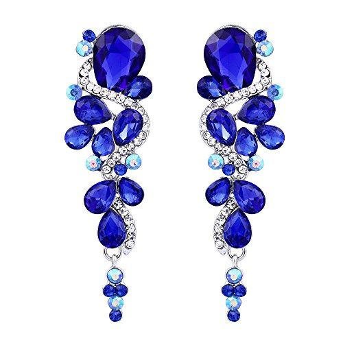 BriLove Women's Wedding Bridal Dangle Earrings Bohemian Boho Crystal Multiple Teardrop Chandelier Long Earrings Silver-Tone Royal Blue Sapphire ()