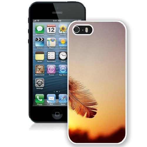 Coque,Fashion Coque iphone 5S Feather Sunset blanc Screen Cover Case Cover Fashion and Hot Sale Design