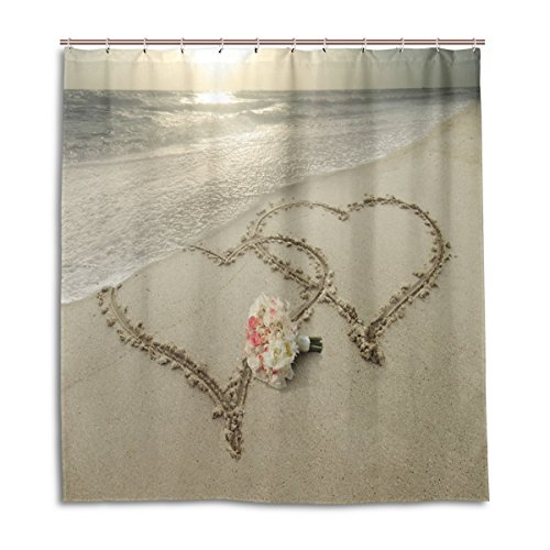 Mr.Weng Household Double Hearts In Sand Shower Curtain DIY Thickening Waterproof Mildewproof 60x72 inch