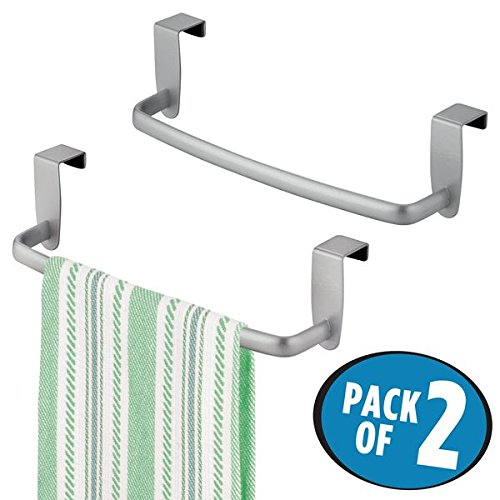 mDesign Kitchen Over Cabinet Stainless Steel Towel Bar – Hang on Inside or Outside of Doors, for Hand, Dish, and Tea Towels – 9.75
