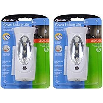 Amerelle LED Power Failure Light 71134CC by Amertac - A Backup Plug-In Emergency Preparedness Flashlight - Portable/Rechargeable - 2 Pack