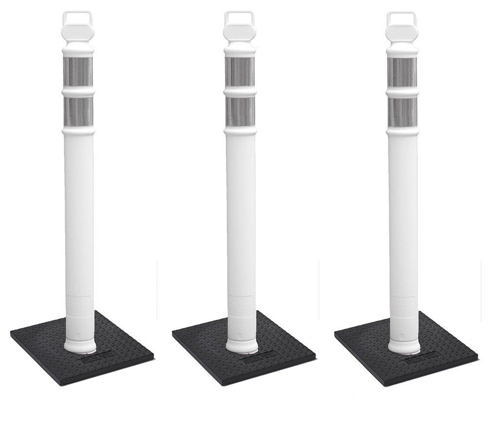 Cortina #03-747WRBC-3 - 3 PACK 45'' White Delineator Post Kit