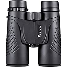 BNISE Binoculars Compact for Adults Bird Watching, Asika 10x42 Waterproof/Fogproof/Shockproof - BaK4 Roof Prism 14mm Exif Relief - with Neck Strap and Carrying Case - Black