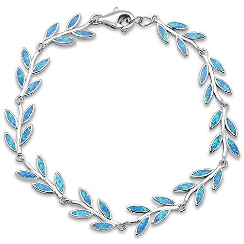 (Oxford Diamond Co Sterling Silver Lab Created Blue Opal Greek Leaf Bracelet)
