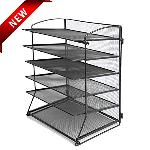 Desk Top File Organizer with 6 Metal Trays Holder for Document Folder Letter Magazine and Paper Rack Home Office Black (Wide Magazine Rack Top)