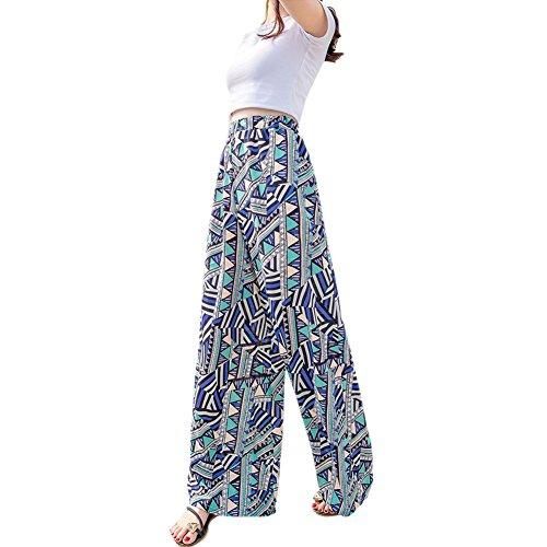 分割不道徳故障Fashion maker(F&M) ガウチョパンツ レディース スカーチョ ワイドパンツ 柄 かわいい ハイウエスト ゴムウエスト シフォン カジュアル ゆったり スカート風 ブルー フリーサイズ