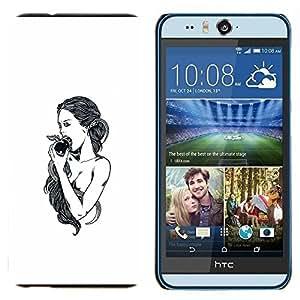 EJOOY---Cubierta de la caja de protección para la piel dura ** HTC Desire Eye M910x ** --Manzana Eva Dios Eden Blanco Negro