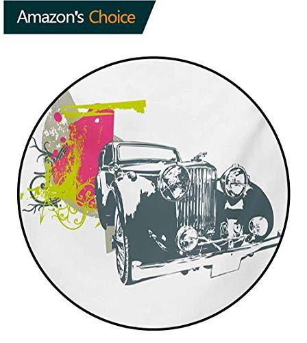 RUGSMAT Vintage Modern Machine Round Bath Mat,Pop Art Retro Custom Classic Car with Grunge Effects Illustration Non-Slip No-Shedding Kitchen Soft Floor Mat,Round-59 Inch Pink Lime Green Slate Blue