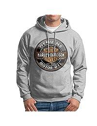SARAH Men's Harley Davidson Logo Hoodie XL Ash