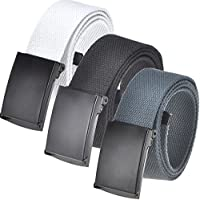 Men's Cut To Fit 3 Pack or 2 Pack or 1 Pack Web Belt With Flip-Top Buckle (16 Colors/56
