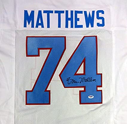 6eefafe844c Image Unavailable. Image not available for. Color: Houston Oilers Bruce  Matthews Autographed White Jersey ...