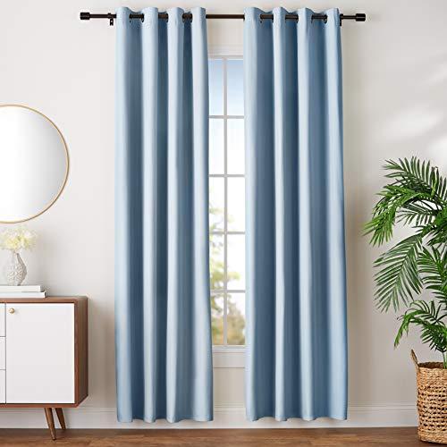 AmazonBasics Room Darkening Blackout Window Curtains with Grommets  - 52' x 96', Light Blue, 2 Panels