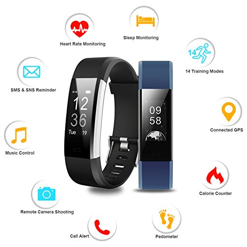 Fitness Tracker, Lintelek Heart Rate Monitor Activity Tracker with Connected GPS Tracker, Step Counter, Sleep Monitor, IP67 Waterproof Bluetooth Pedometer for Android and iOS Smartphone