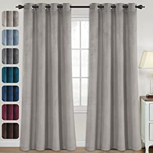 Luxury Velvet Curtains for Living Room 95 Inches Room Darkening Super Thick Soft Velvet Textured Window Curtain Drapes Thermal Insulated Grommet Decoration 2 Panels, Each 52 x 95 Inch, Taupe