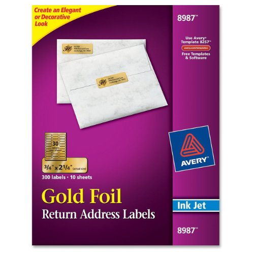 Avery Foil Mailing Labels, 3/4 x 2-1/4, Gold, - Gold Label