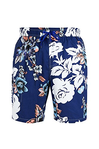 Hawaiian Print Swim Trunks (Trifuness Men Hawaiian Swim Trunks Quick Dry Board Shorts with Tropical Floral Print)