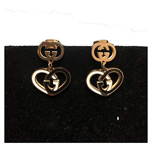 (Women's Fashion Earrings Korean Style Three Icon Drop Earrings Stainless Steel Rose Gold (Heart GG))