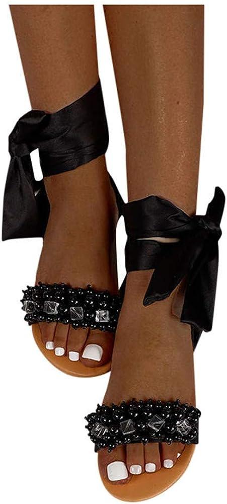 ZBYY Sandalias para mujer de playa, bohemia, perlas, sandalias planas, sandalias de verano, puntera abierta, zapatos de gladiador de tiras