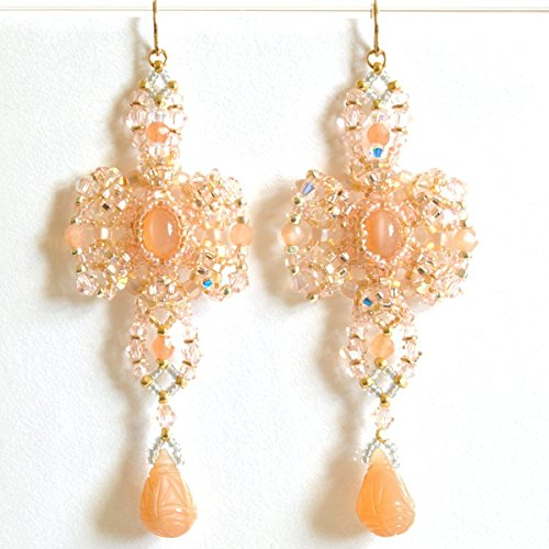 Peach Moonstone Ring (Art Earrings Handcrafted in Peach Moonstone, Austrian Crystal, and 14K Gold Filled; One of a Kind)