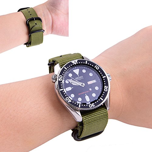 Ritche CHARLOTTE017  Nato Strap with Heavy Buckle Replacement Timex Weekender Watch Band, 20 mm, Army Green / Black Photo #5