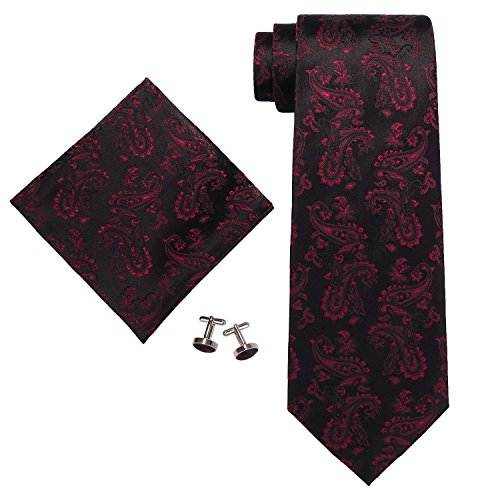 Landisun SILK Paisleys Mens SILK Tie Set: Tie+Hanky+Cufflinks 660 Black Red, - Tie Black Paisley Silk