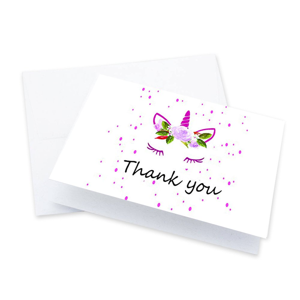 50 Colorful Thank You Note Card with Pink Unicorn Horn and White Rose Design and Blank Greeting Space - A Bulk Box Set of Smooth and Glossy Card with Flap Envelopes
