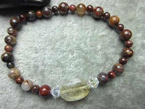 Genuine Citrine and Pietersite Healing Bracelet Stamina Abundance