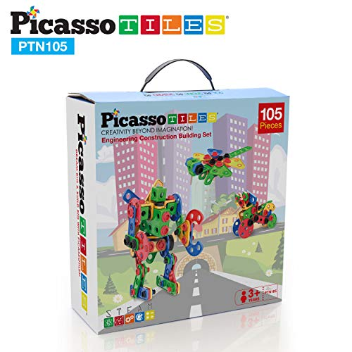 PicassoTiles STEM Learning Toys 105 Piece Building Block Set Kids Construction Engineering Kit Toy Blocks Children Early Education Playset w/ IdeaBook, Power Drill, Clickable Ratchet, Age 3+ PTN105