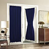 "Patio Door Curtain Panel for Privacy - Aquazolax Blackout Drapery 54""x72"" Solid Curtains with Tiebacks for French Glass Door - 2 Panels, Navy Blue"