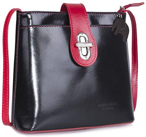 Big Handbag Shop - Bolso de mano para mujer, piel italiana auténtica, tamaño grande Black - Red Trim (KL496)