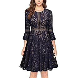 MISSMAY Women's Vintage Full Lace Contrast Flare Sleeve Big Swing A-Line Dress Large
