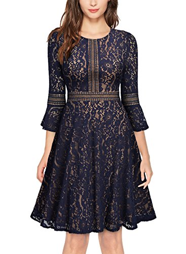 MISSMAY Women's Vintage Full Lace Contrast Bell Sleeve Big Swing A-Line Dress, X-Large, Navy Blue