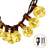 G40 Globe String Lights, LED String Lights Outdoor, Ball Lights Waterproof, 30 Bulbs with 5 Light Beads, UL Listed Plug, 32.8 Ft, Warm White String Light with Remote Control for Patio Backyard Bistro
