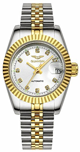 Gosasa Womens Classic Automatic Sapphire Watch Two Tone Gold Stainless Steel Dress White Watch ()