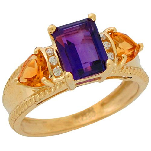 10k Yellow Gold Genuine Amethyst Citrine and Diamond Accented Ladies Fancy (Fancy Cut Amethyst Ring)