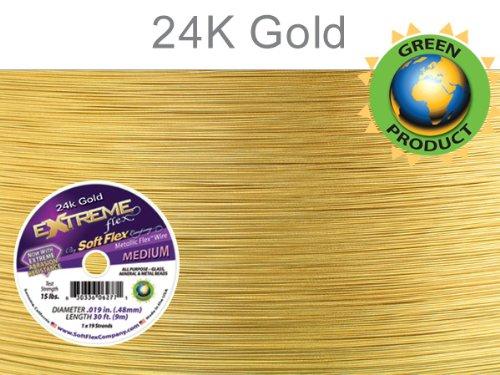 Soft Flex Extreme Bead Wire, 24k Gold, 0.019 Inch, 30 Feet | BDC-783.02